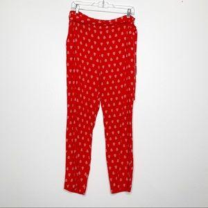 SEZANE Red Floral Eddy Trouser Pants sz 38 (US 6)